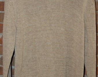 Mens Size M Ralph Lauren Tan / Light Brown / Khack Knit Sweater Large Collar