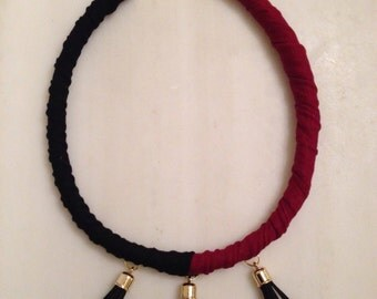 Fabric necklace with tassels