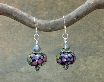Purple Earrings~Pink Lampwork Earrings~Handmade Purple Rose Glass Earrings~Artisan Glass Earrings~OOAK~SRA