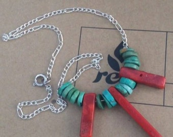 Turquoise + Coral Necklace.