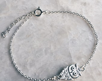 Owl charm bracelet, Sterling silver owl charm bracelet, Tiny silver owl bracelet, Dainty chain bracelet, Animal bracelet (B17)
