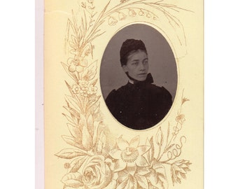 Vintage Tintype Photo, Carte De Visite, Visiting Card, Ferrotype Photograph of a Woman