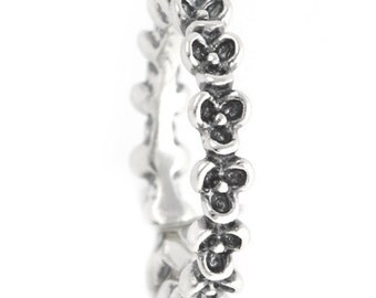Pansy Flower Ring 925 Solid Sterling Silver Oxidized Flowers Garden Pansies Stacking Stackable Stack Band Women