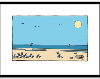 Soldier crabs, modern wall art print, landscape, beach, blue, sunny day, Limited edition of 50 prints