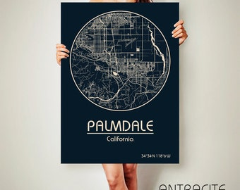 PALMDALE California Map Palmdale Poster City Map Palmdale California Art Print Palmdale California poster Palmdale California map art Poster
