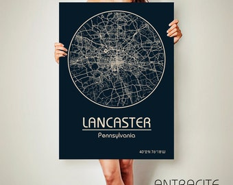 LANCASTER Pennsylvania CANVAS Map Lancaster Pennsylvania Poster City Map Lancaster Pennsylvania Art Print Lancaster Pennsylvania