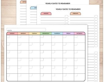 Printable Blank Rainbow Calendar PDF with BONUS Yearly Dates to Remember 3 page PDF - 7 colored days of the week - Instant Download