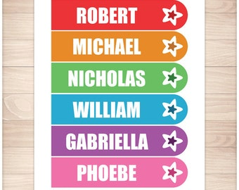 Printable Personalized Rainbow Star Bookmarks - Editable PDF Printable Bookmarks