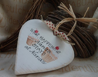 What happens at Nannys... stays at Nannys wood and wicker hearts. Lovely Mothers Day gift for Mum and Nan, custom and hand painted design