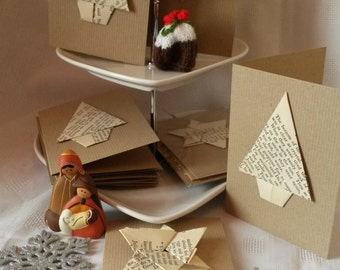 Recycled book origami Christmas Cards (4 pack)