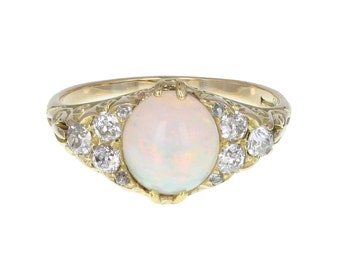 Antique Gallery Set Opal and Diamond Occasion Ring