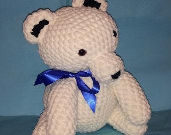 Snowflake The Polar Bear, Handamade toy, amigurumi bear, Crochet bear, stuffed bear, plush bear, baby gift, baby shower, kids toy, plusie