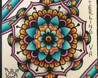 Original Watercolor Mandala Painting