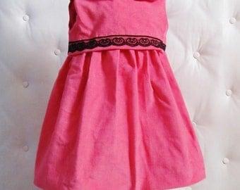 Dress baby 9 in 12 hand-made fuchsia velvet months
