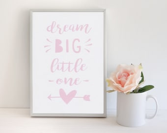 Pink Girls Room Decor Baby Girl Nursery Print Dream Big Little One Girl Bedroom Wall Quotes Pink Wall Art Gift For Baby