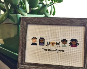 Seven Person Custom Made-to-Order Cross Stitch