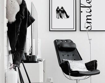 Tacones para el vestidor con recuadro, diseño louboutin, arte para pared, láminas imprimibles, Poster, tipografía, motivacional