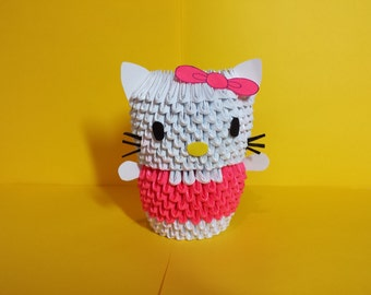 3D Origami Pink Hello Kitty