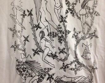 Fetish Pin Up Tee Shirt- Nudes Tee Shirt- Art Deco Tee Shirt- Art Nouveau Tee Shirt- Sexy Girls Tee Shirt- Gift- Size  Extra Large