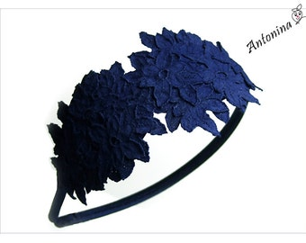 Headband blue top dark blue flowers of headband alice band blue dark blue lace