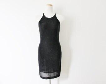 SALE Vintage Black/Metallic Halter Dress