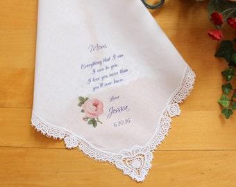 Mother of the Bride Handkerchief-Wedding Hankerchief-PRINTED-CUSTOMIZED-Wedding Gift-Mother of the Groom hankies-LS11FCAC