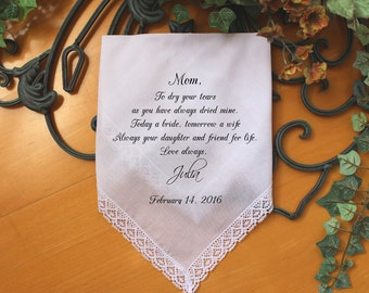 Mother of the Bride handkerchief, PRINTED, to dry your happy tears, Mom Handkerchief, Mother of the Bride Gift,Personalized. LS6FCAC