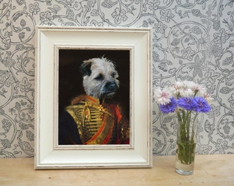 Border Terrier In Uniform Framed Pet Portrait Print