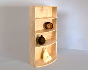 Curved Front Maple Display Shelf. Can be used to display keepsakes, collectibles, altar or meditation items.