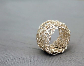 Silver wire crochet ring, wire crochet jewellery, large statement ring, woven wire band, adjustable ring