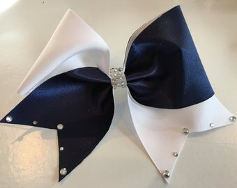 blue/white bow with rhinestones