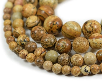 "Picture Jasper Beads, Full 15.5"" Strand Natural Round Wholesale 4mm 6mm 8mm 10mm"