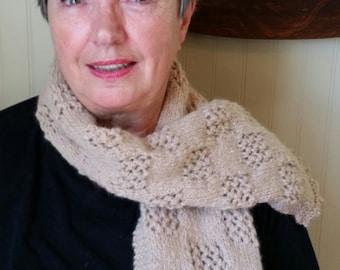 Hand knit Alpaca scarf w/picot trim