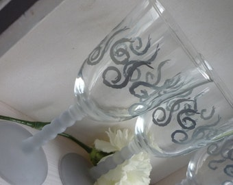 Pair of Cut Glass wine glasses, grey frosted stem, silver swirls on glass, wedding gift, anniversary, housewarming gift, for the couple