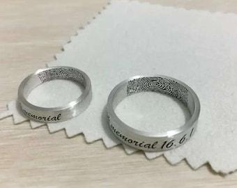 Actual Fingerprint Ring, Wedding Band,990  Sterling Silver Engraving 4mm-6mm