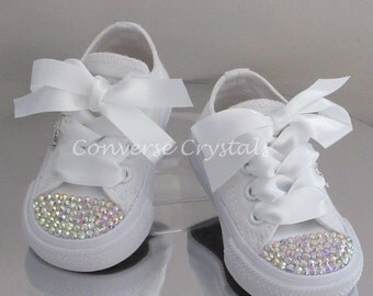Infant Mono White Custom Crystal Toes & Backs *Bling*Converse  Sizes 2-10 - Many Options Available