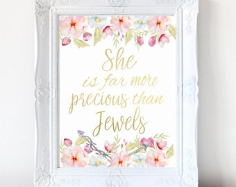 "Girl's Nursery Wall Art Printable, Nursery Decor, Gold Foil Watercolor Print, ""She Is Far More Precious Than Jewels,"" Baby Nursery Art"