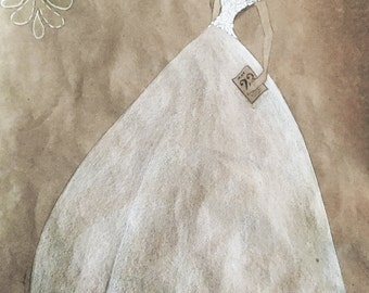 Personalized Wedding Gown Fashion Sketch Drawing Custom