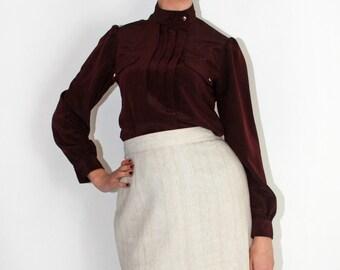 Burgundy satin blouse | vintage shirt 80s | military S M