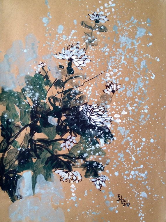 """WHITE DAISIES 16x20"""" gouache on paper, flowers, floral wall decor, original painting by Nguyen Ly Phuong Ngoc"""