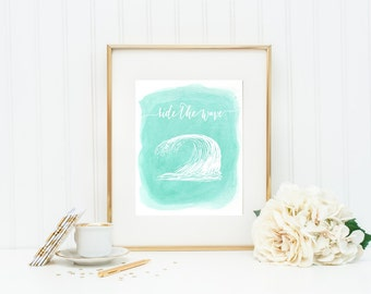 Digital Wall Art Print, Ride the Wave, Aqua, Nursery, Wall Art, Printable, Frame, Home Decor, Wall Decor, Instant Download