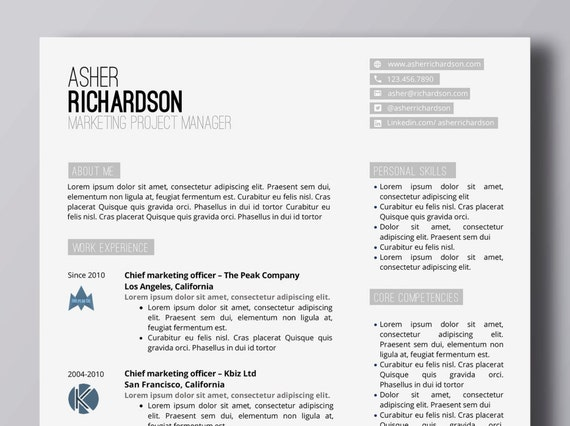 minimalist resume with logos word