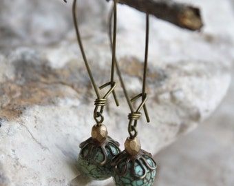 Turquoise Antique Brass Kidney hook earrings