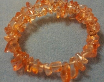 Peach Quartz Gemstone Nugget Memory Wire Bracelet