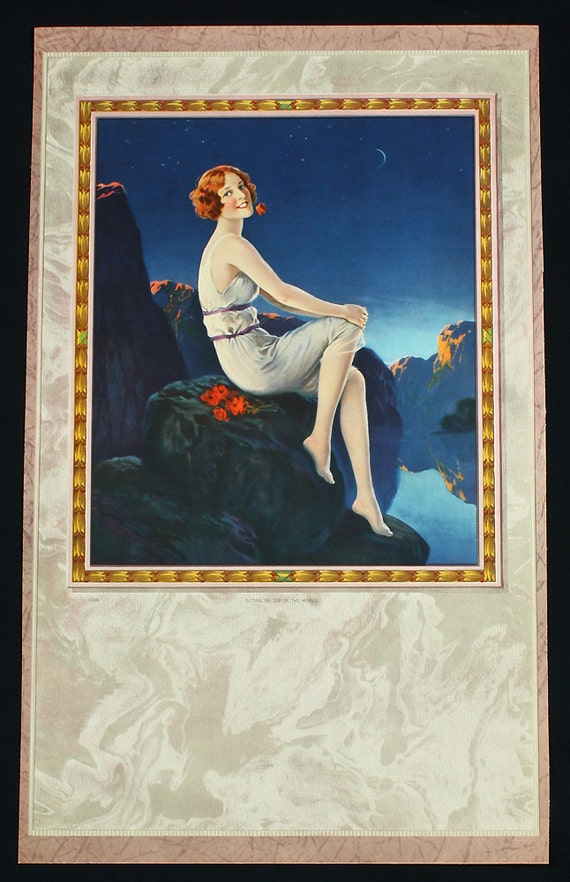 Vintage 1930s Art Deco Pin-Up Poster Gorgeous Moonlit Flapper