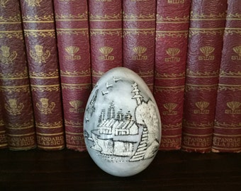 Vintage Marble Egg with Etched Asian Houses Scene