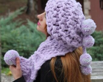 Chunky Knit  Scarf & Hat Set  Super soft  Chunky  Knit Hat - Scarf Set , Shawls and Hat Set , Soft Chunky Knit Wrap, Chunky knit