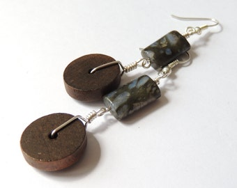Wood and Stone -  Grey tones with a hint of Blue  Labradorite  drop dangle earrings.  Subtle ethnic influence
