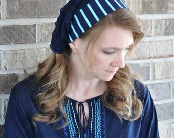 Women's Navy Blue Stripe Headcovering, head scarf, Mitpachat, head covering, hair scarf, headscarf, bandana, headband, half head tichel