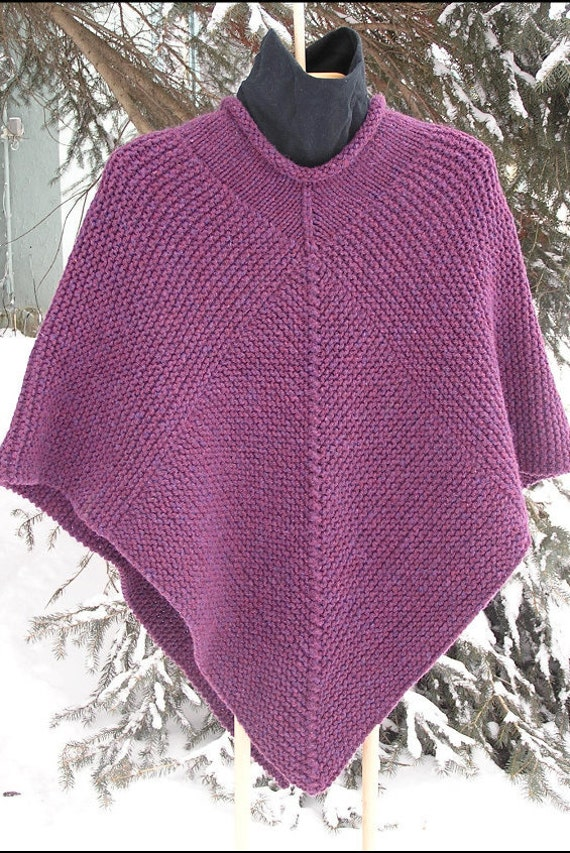 Knitting Ponchos : Poncho knitting pattern pdf garter stitch chunky